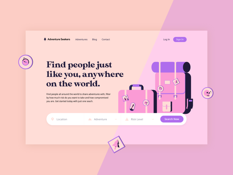 Adventure flat cartoonish typography header hero adventure pink vector illustration website web hellohello interface ux ui design