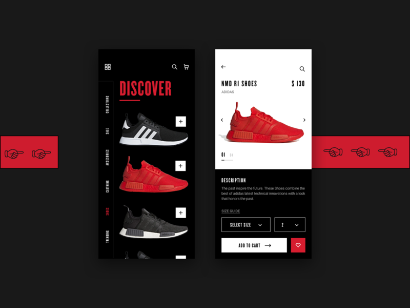 Discover Sneakers modernism nike listing buy sneakers black white bold hellohello simple minimal app clean interface ux ui design
