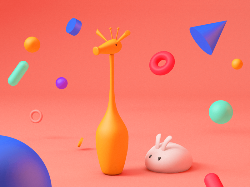 Playful basic animals colors playful geometric modeling c4d cinema4d 3d colorful