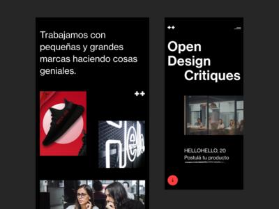 Open Design Critiques black typography dark bold website web simple hellohello minimal clean interface ux ui design