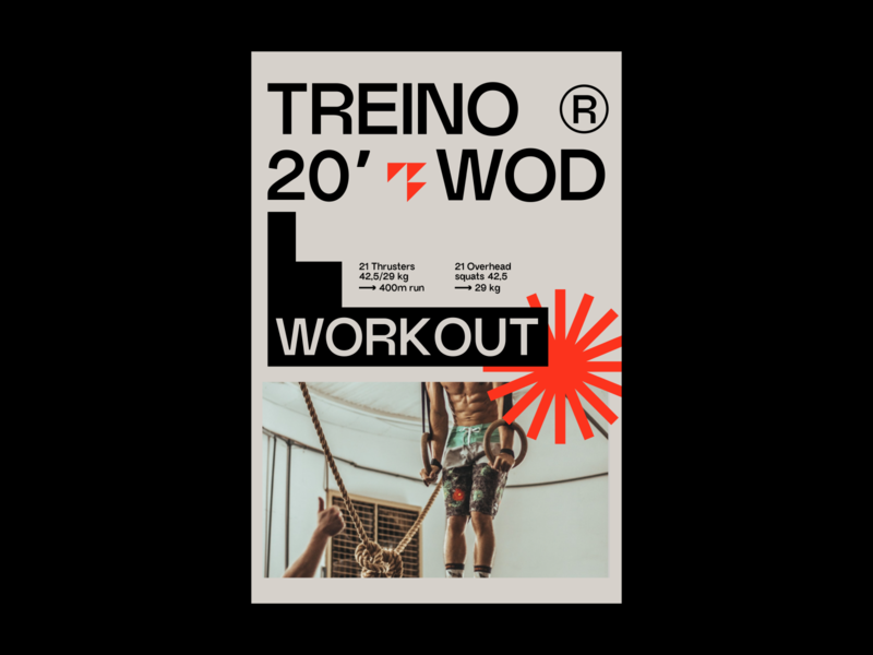 Treino Brand print poster crossfit training grotesque red typography branding logo simple hellohello minimal design