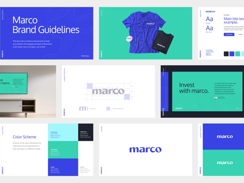 Marco Branding brand guidelines brandbook logomark simple blue exports financing startup marco typography hellohello branding logo design