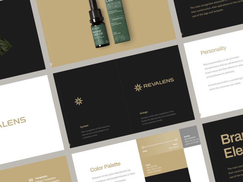 Revalens Brand startup brandbook elegant cosmetic medical plant revalens typogaphy branding logo hellohello design