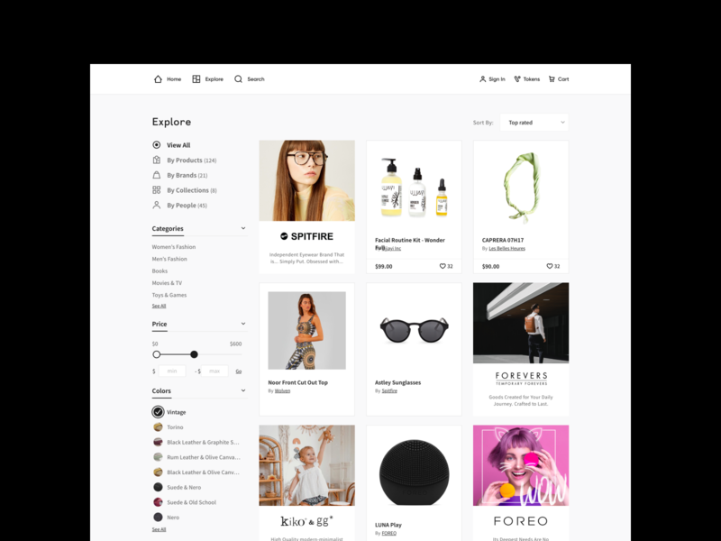Marketplace facets filters cards listing products marketplace website web simple hellohello minimal clean interface ux ui design