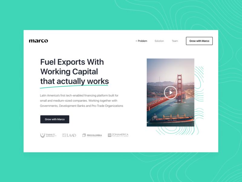 Marco Website export landing header trade website web simple hellohello clean interface ux ui design