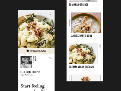 Health Bar App recipe feed food healthyfood healthy ios simple hellohello minimal app clean interface ux ui design