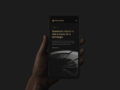 Revalens mobile landing machine elegant black bold hellohello website web simple interface ux ui design