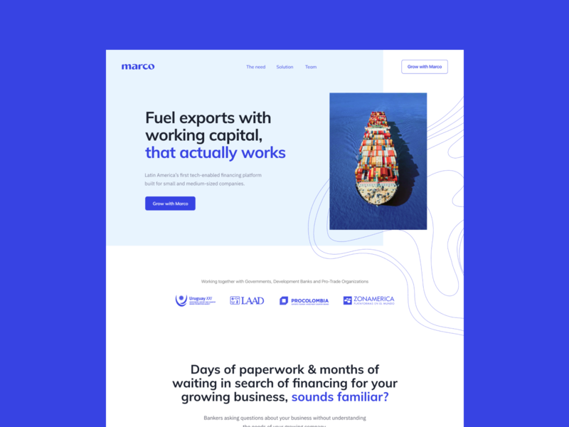 Marco Website landing ship layout exports maritime ocean blue marco website web hellohello clean interface ux ui design