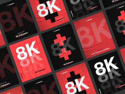 ++8K grotesk modern swiss poster branding followers 8k brand black red hellohello interface ux ui design