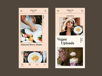 Health Bar App health bar hellohello feed cook app fashion clean pastel healthy vegan food ux ui  ux app design ios app iphone ios
