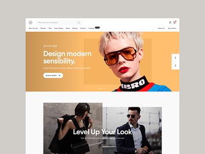 Marketplace fashion products hero landing marketplace hellohello clean ux uiux interface square simple minimal design website web ui