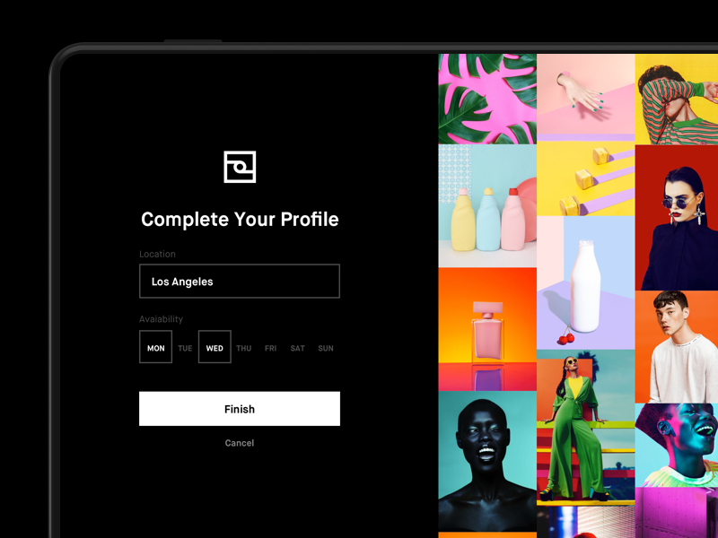 Foto App - Complete Your Profile dark bold photography minimal colorful clean black interface app ux ui design