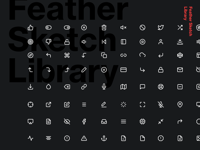Feather Sketch Library - 200+  Icons freebie interface ui design minimal simple symbols library sketch icons free feather