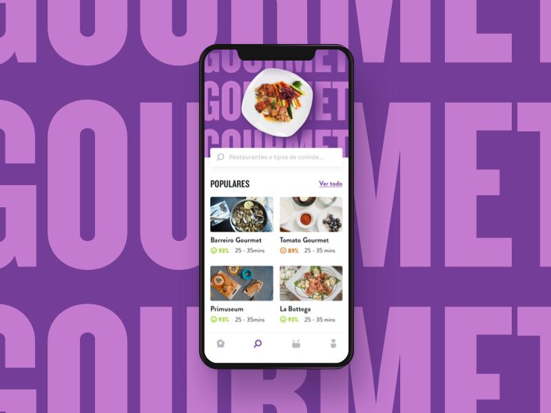 Food - Explore food design ui ux app interface clean blue red ios explore feed