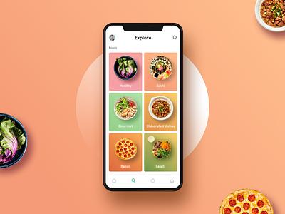 Explore Food explore pastel colors foodapp healthy food white ios minimal clean app interface ux ui design