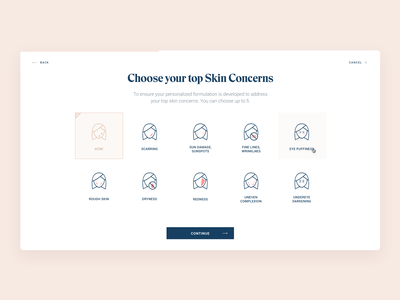 Wizard ux ui interface simple website app minimal multiple choice selection face elegant clean hellohello dermatology skin concerns skin wizard web design
