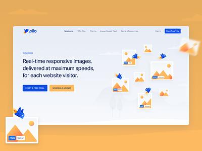 Piio speed birds illustration images clean blue yellow hellohello piio website web app ux branding ui design