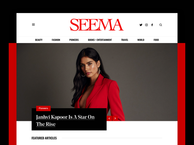 Seema hellohello fashion magazine culture blog indian typography red black white bold simple web website minimal clean interface ux ui design