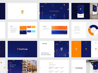 GreyOrange Brandbook confetti move dynamic movelements orange greyorange design ui ux logo brand branding typography brandbook hellohello blue dark blue construction