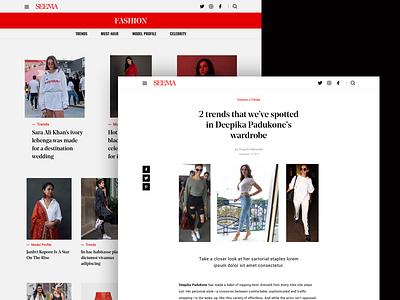 Seema design ui ux interface clean minimal website web simple bold white black red typography indian blog culture magazine fashion hellohello