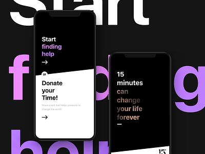 Start finding help onboarding help gold violet diagonal gradient typography black hellohello bold ios simple minimal clean app interface ui ux design