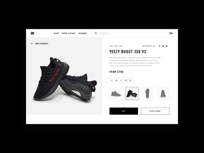 Product Detail black dark grey sneakers shoes product detail typography hellohello white ios bold simple website web minimal clean interface ux ui design