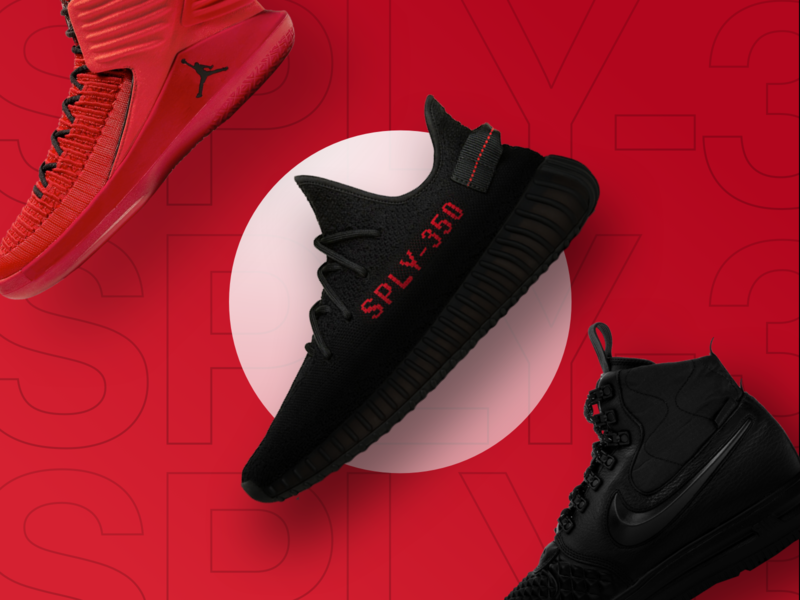 Sneakers - Trading red design ui ux interface clean minimal web website simple bold ios hellohello typography product detail shoes sneakers grey dark black