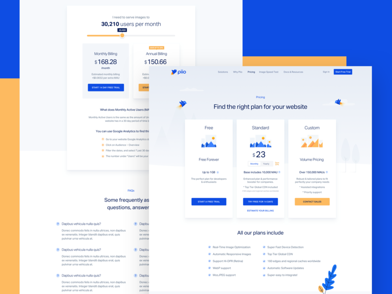 Piio - Pricing pricing home landing design ui branding ux app web website piio hellohello yellow blue clean images illustration birds portal dark blue