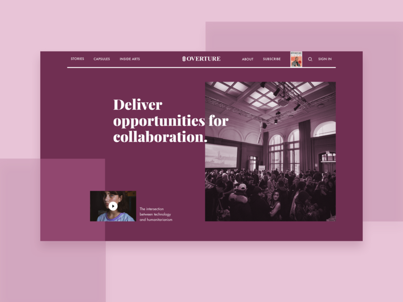 Overture - Events violet events layout header hero press magazine overture hellohello simple website web minimal clean interface ux ui design community humanitarian