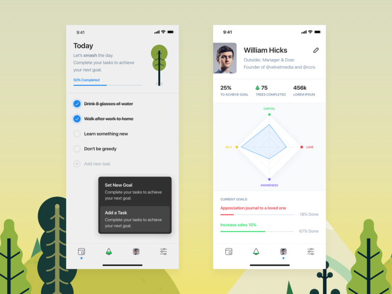 Trees goal chart green trees white ios hellohello bold simple minimal app clean interface ux ui design