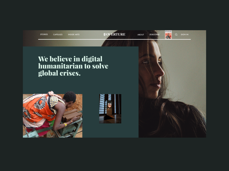 Overture Global - About green about design ui ux interface clean app minimal simple web website bold hellohello white typography black overture magazine video