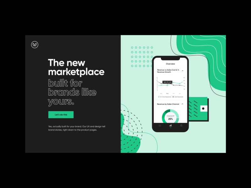Verte phone marketplace vertex hero home hd stem dark black hellohello bold simple minimal app clean interface ux ui design green
