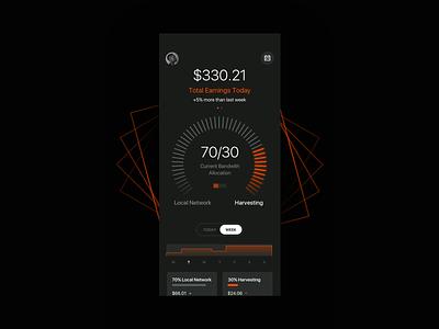Blockchain Meter graph chart radial blockchain coins network harvest dark mode dark black bold hellohello simple minimal app clean interface ux ui design