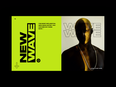 Wave typography extended vertical brave green black wave hellohello website bold layout minimal mondrian clean interface app ux ui design photography