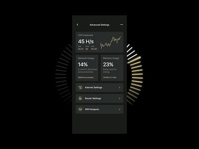 Blockchain internet harvest settings yellow gold black dark bold hellohello simple minimal app clean interface ux ui design