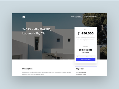 Real Estate website web modern layout information sell house blue white bold hellohello simple minimal clean interface ux ui design