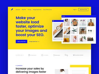 Piio landing bird compress speed image fast marketing yellow strong piio blue bold website web hellohello clean interface ux ui design