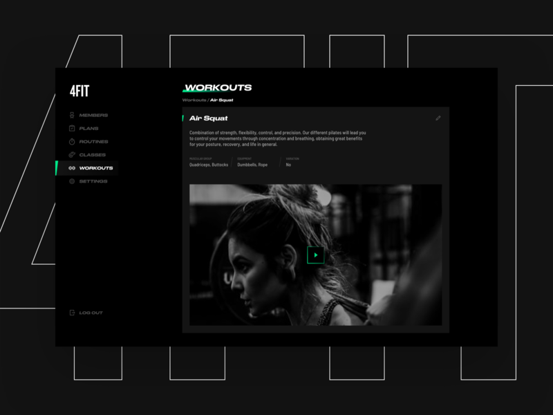 4fit website web bold black dark minimal app clean interface ux ui design strong workout gym dashboard excercise video