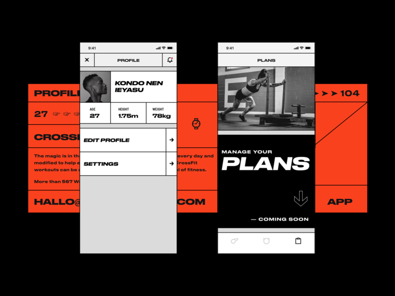 4fit crossfit workout plans profile red grotesque lines black white bold hellohello simple minimal app clean interface ux ui design