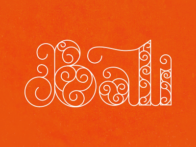 Bali lettering type typography swirls swashes logo intricate