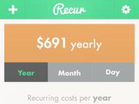 Recur   data displayed