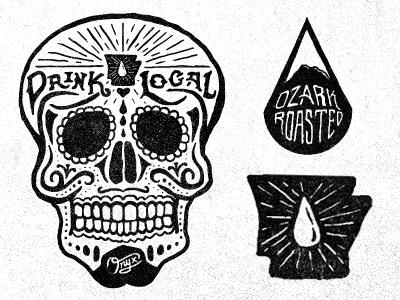 Coffee Bag Dribs skull black white arkansas drop onyx blkboxlabs coffee bag sugar skull