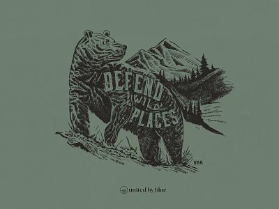 United By Blue Defend Wild Places bear illustration bear nature illustration national park hand lettering outdoors illustraion