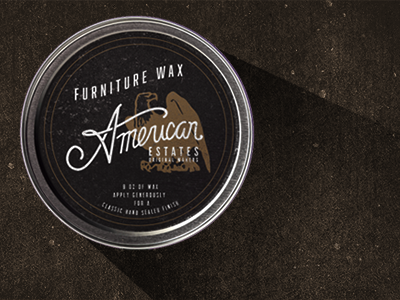 American Estates Wax hand lettered wax on wax off branding packaging logo furniture handcrafted black gold eagle wax tin hand