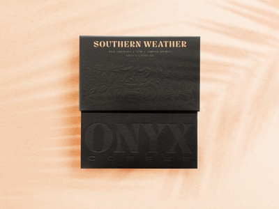 Onyxly Fresh hickory design co embossed craft coffee design arkansas black texture typography logo branding packaging