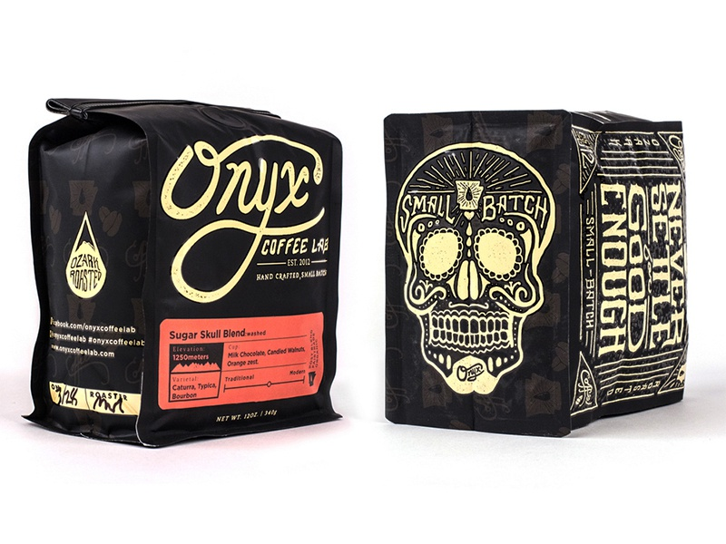 Onyx Coffee Bags logo branding packaging coffee onyx arkansas ozarks skull type typography hand lettered