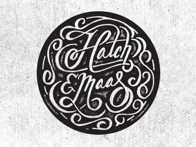 Hatch & Maas logo branding stamp photographer vintage texture blkboxlabs script hatchmaas hand lettered