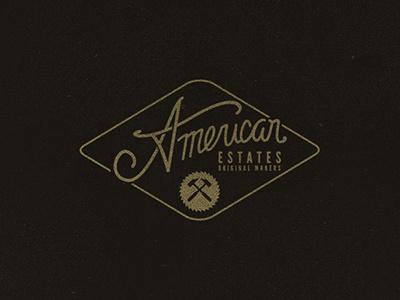 AE logo branding vintage texture typography merica flag usa industrial american estates
