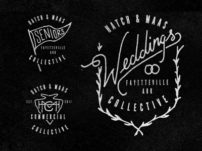 Hatch & Maas Badges logo branding arkansas photography vintage retro type typography hand lettered