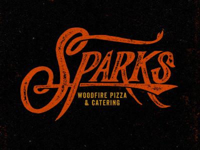 Sparks logo branding arkansas pizza vintage retro type typography woodfire hand lettered brick oven